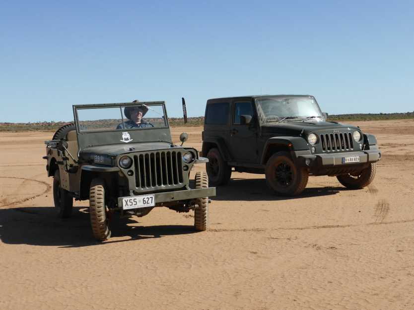 1942 Willys MB beside its modern interpretation, the 75th Anniversary Jeep Wrangler. Photo: Iain Curry
