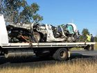 One of the vehicles involved in a two-car crash on the Capricorn Hwy about 4.30am today.
