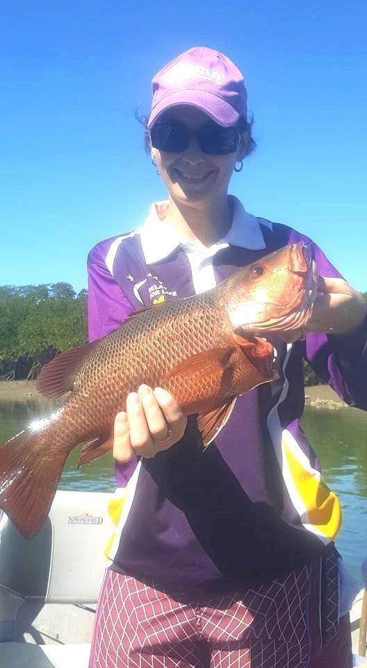 Melissa Vella caught this 50cm mangrove jack on squid at Constant Creek.