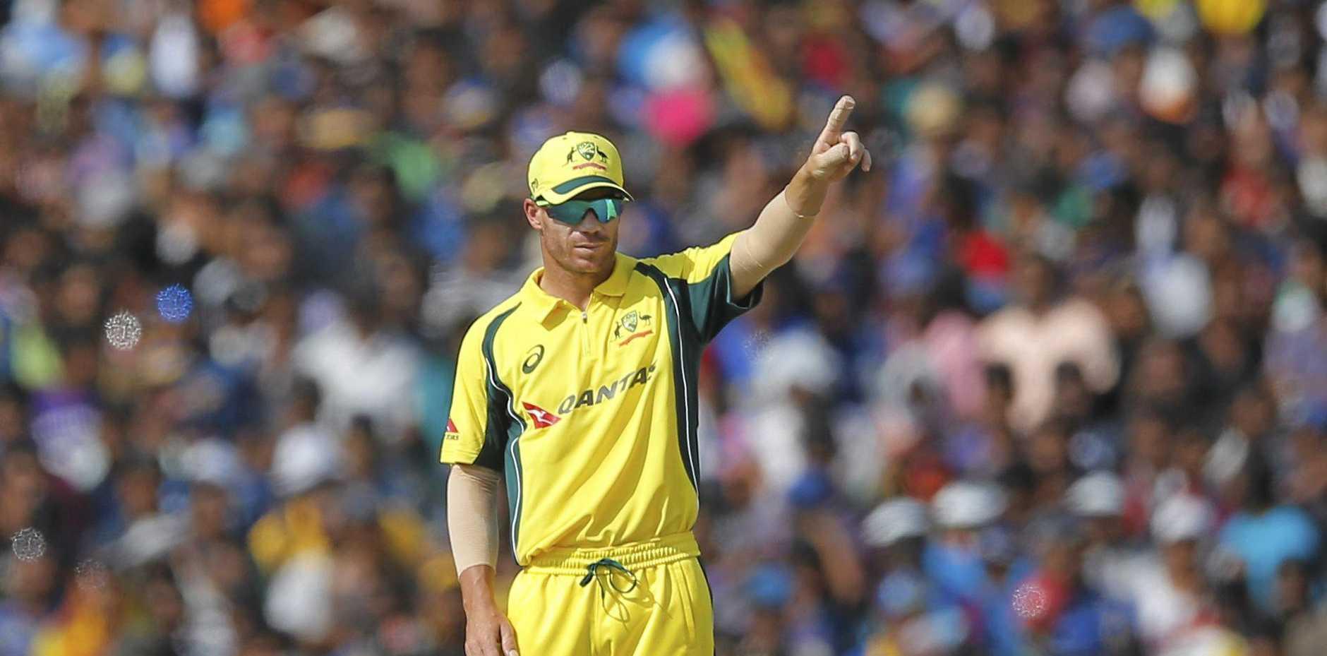 TAKING CHARGE: Australia's stand-in captain David Warner sets the field against Sri Lanka.