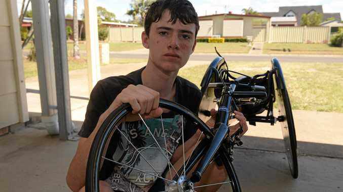 EXPENCIVE REPAIRS: Nathan Donaldsons wheel and forks are damaged after his crash at the Bridge to Brisbane 10km race.Photo: Paul Donaldson / NewsMail