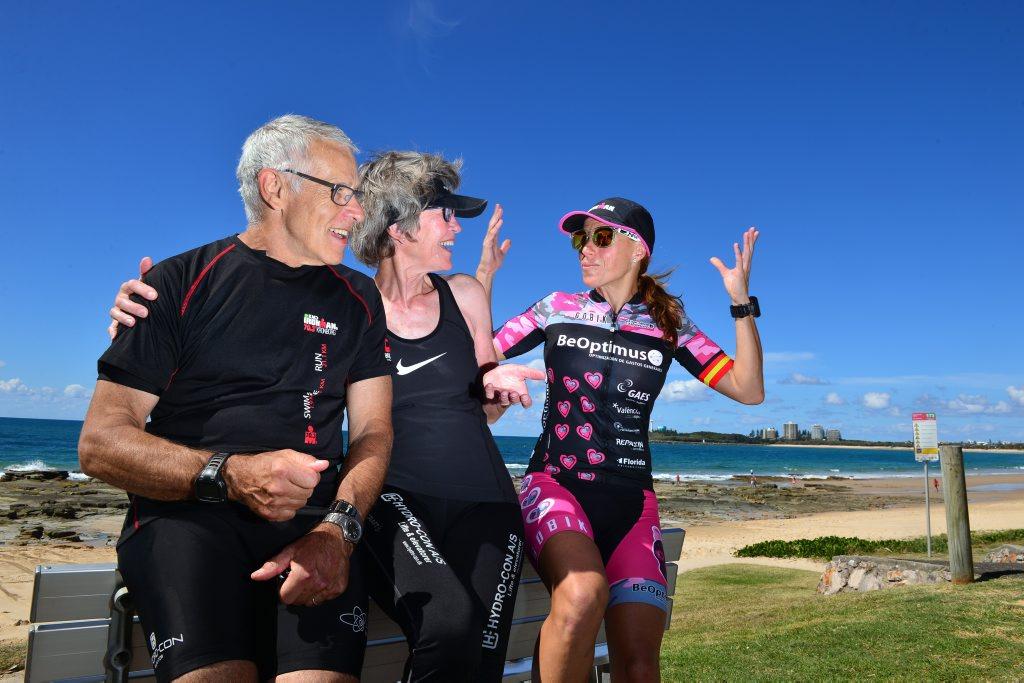 Image for sale: Frants Oldenburg, 69, and Anne Marie Oldenburg of Denmark with Spanish competitor Maria Jose Martinez Maroto, 39 enjoying the weather at Mooloolaba Beach. Photo: John McCutcheon / Sunshine Coast Daily