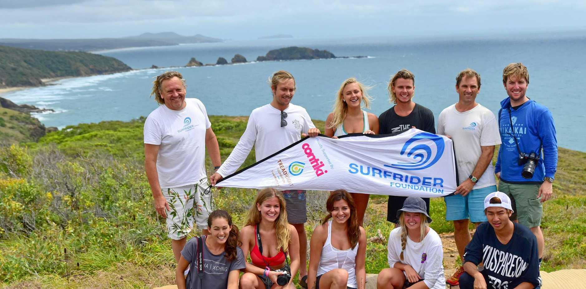 KEEPING IT BEAUTIFUL: The Surfrider Foundation-Contiki Storytellers 2015 Beach Clean up included; back row Brendan Donodue (Surfrider Foundation Northern Branches Sydney, National ex-Chairman), D'arcy Dineen (Noosa), Elli-Jean Coffey (Coolangatta), Jackson Coffey (Coolangatta), John McGrath (Surfrider Foundation Capricorn Coast), Pete Halvorsen (LA, USA)Front row L-R: Chelsea Yamase (Hawaii), Mollie Bylett (UK), Jordan Dyck (Canada), Jamie McDell (NZ), Masato Yukawa (Japan).