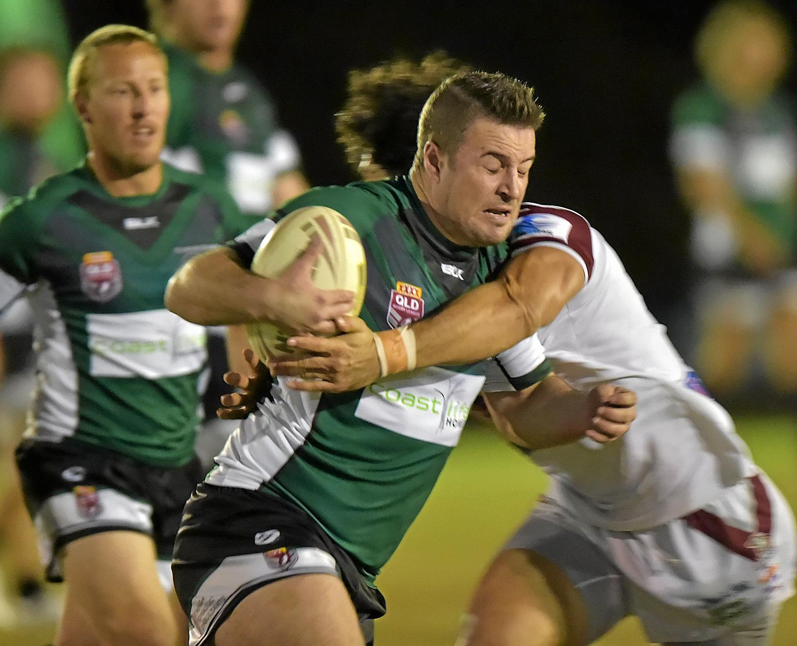 Maroochydore against Kawana rugby league match.Maroochydore forward Luke Roberts.