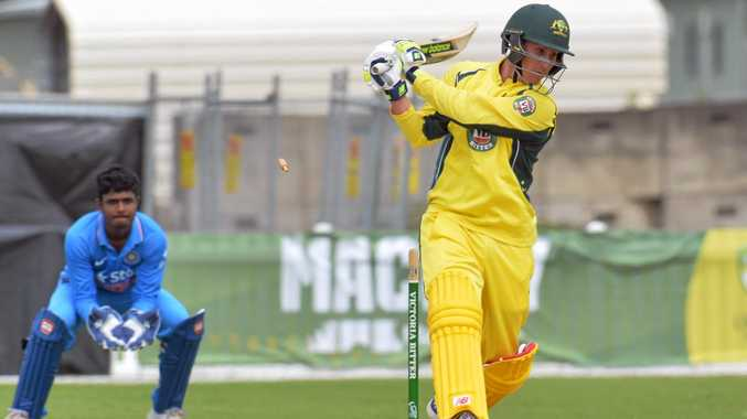 Australia A batter Nic Maddinson scored 118 runs before being bowled by India's Shradul Thakur.