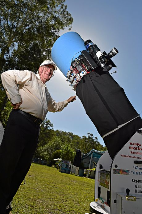 Owen Bennedick from the Wappa Falls Observatory prepares his telescope for a possible sighting of a meteor shower.