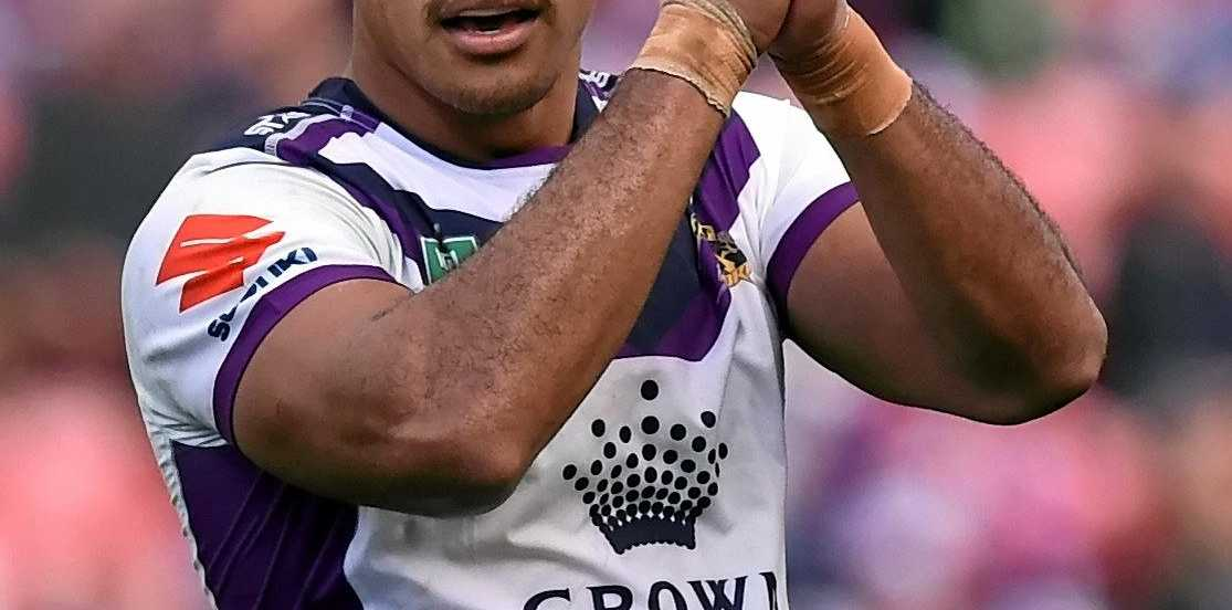 Felise Kaufusi celebrates during the Storms win over Newcastle.