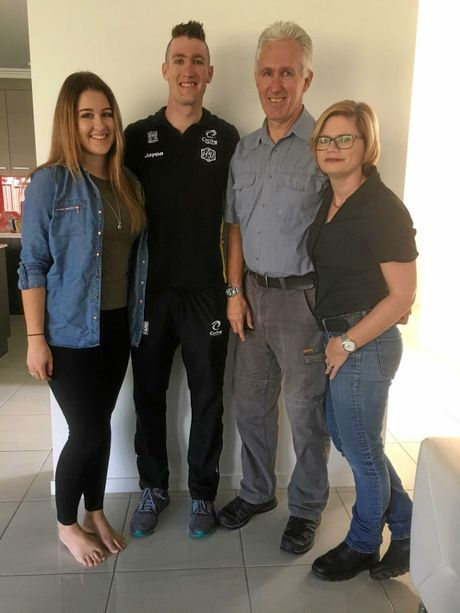 David Nicholas (second from left) with his family (from left) sister Jayne and parents David Snr and Jodie.