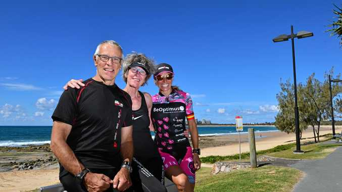 Frant Oldenburg, 69, and Anne Marie Oldenburg of Denmark with Spanish competitor Maria Jose Martinez Maroto, 39, enjoying the weather at Mooloolaba Beach.