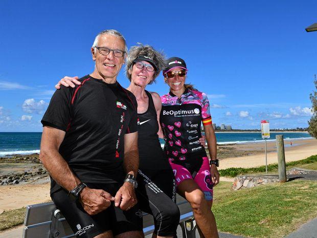Frant Oldenburg, 69, and Anne Marie Oldenburg of Denmark with Spanish competitor Maria Jose Martinez Maroto, 39, enjoying the weather at Mooloolaba Beach.