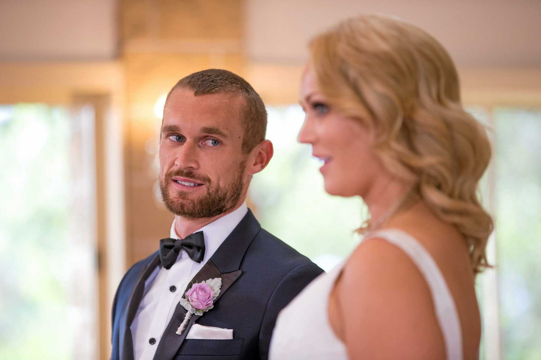 'PRIME TIME FODDER': Clare Verrall and Jono Pitman in a scene from the TV series Married At First Sight. Supplied by Channel 9.