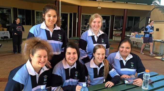 PRESSURE IS ON: Rhea Dhillon, Georgia Hayes (back), Kate McDonnell, Belarna Pertot, Ella Moro and Neha Dillon (front) were among the Year 12 students at St Patrick's College who enjoyed a special breakfast this morning before their first QCS exam.