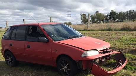 A red hatchback was damaged in the two-vehicle collision at the intersection of Newman Rd and Luck Rd at Vale View this morning.