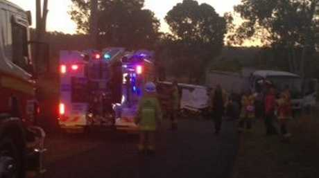 FATAL CRASH: The accident scene on Bania Rd, Mt Perry. Photo: Jodie Dixon / Isis Town and Country