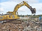 SAWTOOTH GONE: Demolition of Foundry sawtooth shed to make way for new Bunnings building.