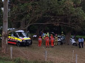 GALLERY: Car veers off road, crashing into tree 200m away