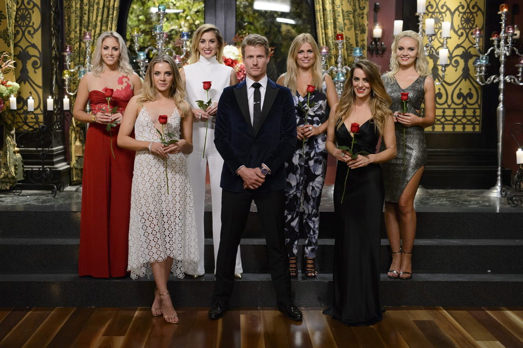 The Bachelor Richie Strahan with the final six bachelorettes.
