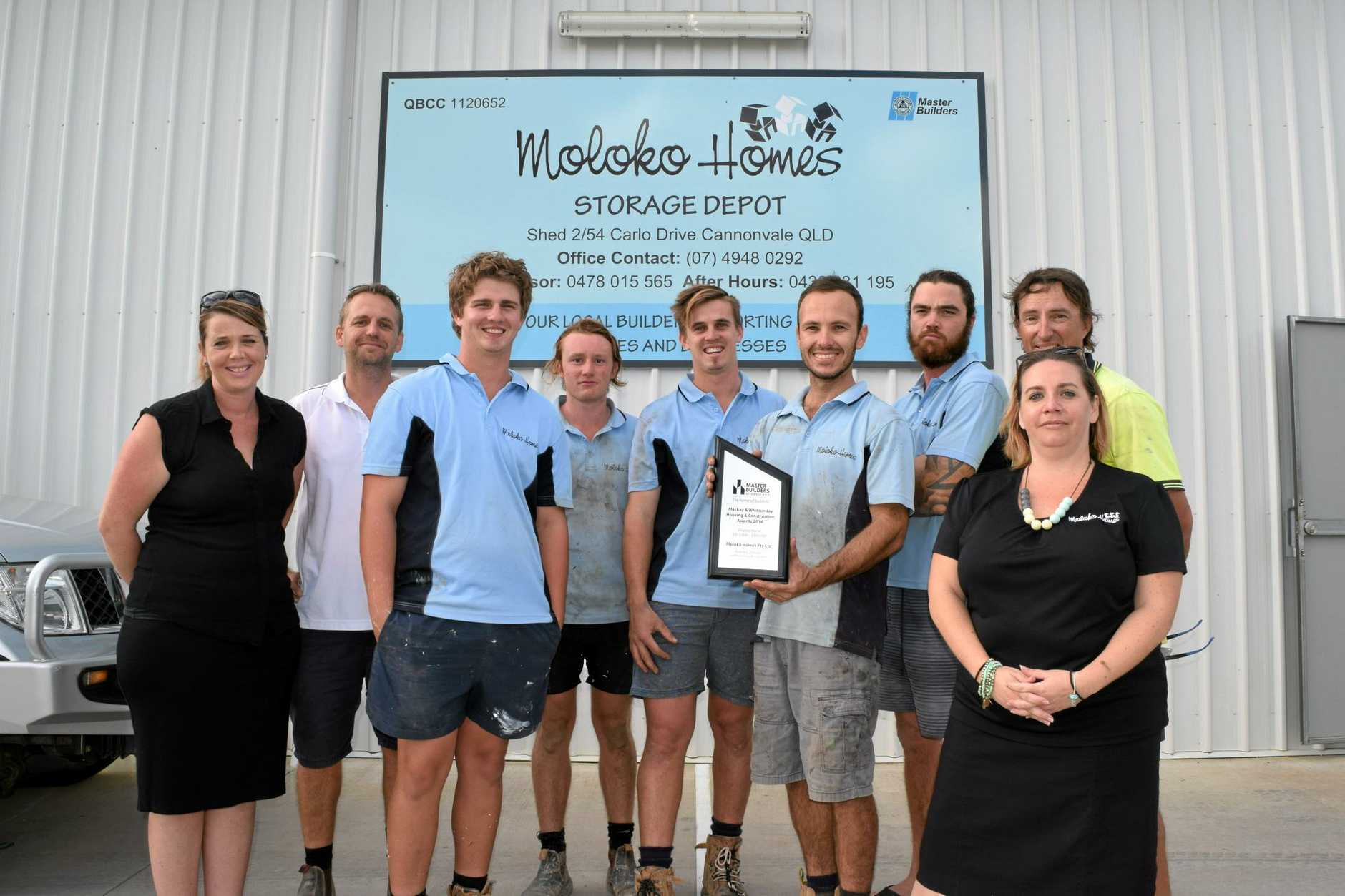 TOP JOB: Moloko Homes Whitsundays directors Jessica and Gavin Smith, apprentices Arthur Whitton and Ollie Annear, carpenters Tyler Newton, Micah Berry and Peter Wheeler, supervisor Andrew Kronk and office manager Lisa Phillips.