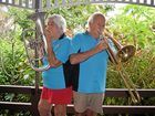 ON TUNE: The Proserpine Citizens' Band's Myra and Rex Robinson tune up ahead of their performance at the Proserpine Uniting Church Flower Show.