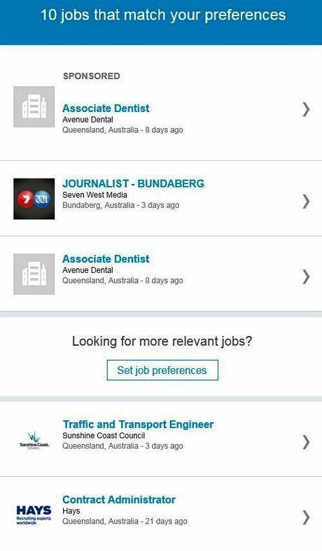 SCREENGRAB: A snapshot of the LinkedIn job alert email journalist Scott Sawyer received.