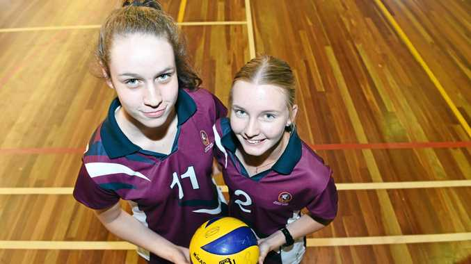 WINNERS: Aldridge State High School students Hannah Karrasch and Anniston Chappell co-captained Queensland's school sport team to the national title.