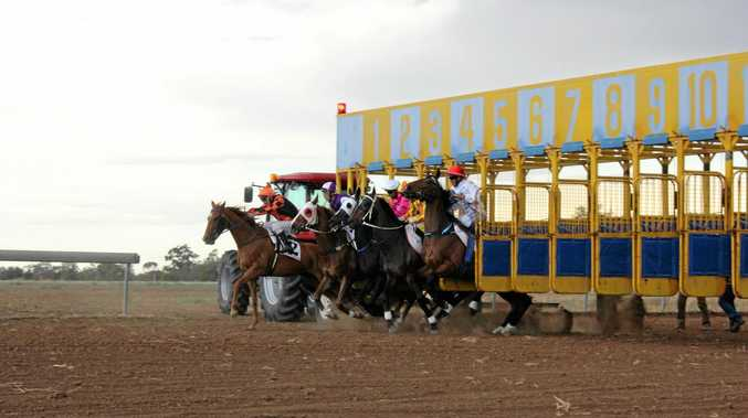 Eventual race winner Billy Goat (outside) jumps away in last year's St George Cup.