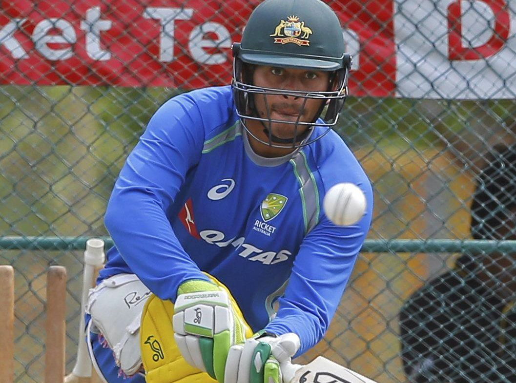 FORM SLUMP: Australian cricketer Usman Khawaja bats during a practice session in Sri Lanka.