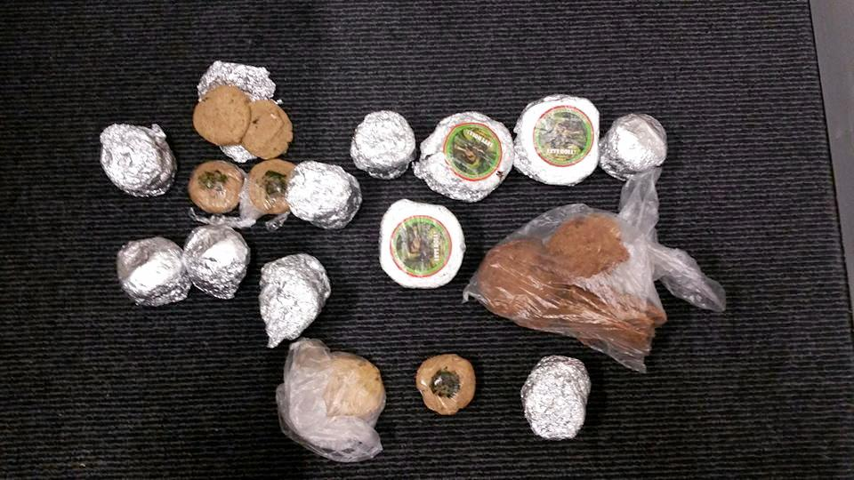 Items seized during a search warrant at Nimbin.