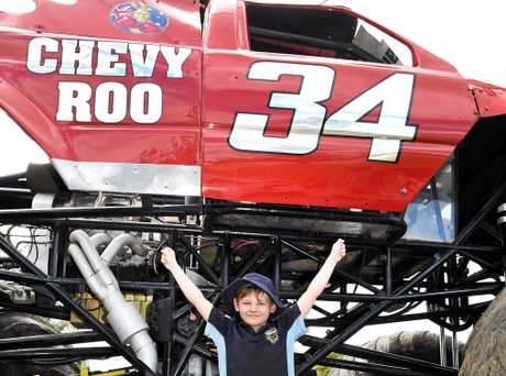 The Monster trucks have arrived - Jacob Amodeo gets up close to the Chevy Roo monster truck durinng a visit to his school.