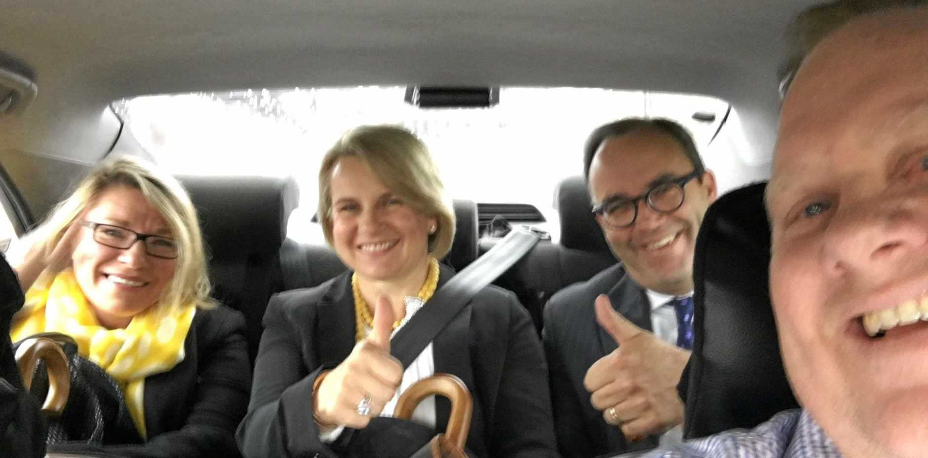 Olympian Libby Trickett, Nicole Morrison, Simon Morrison and Bevan Slattery in the taxi from the High Court to the Canberra Airport after the court handed down the decision to reinstate Gerard Baden-Clay's murder conviction in relation to the death of his wife, Allison.