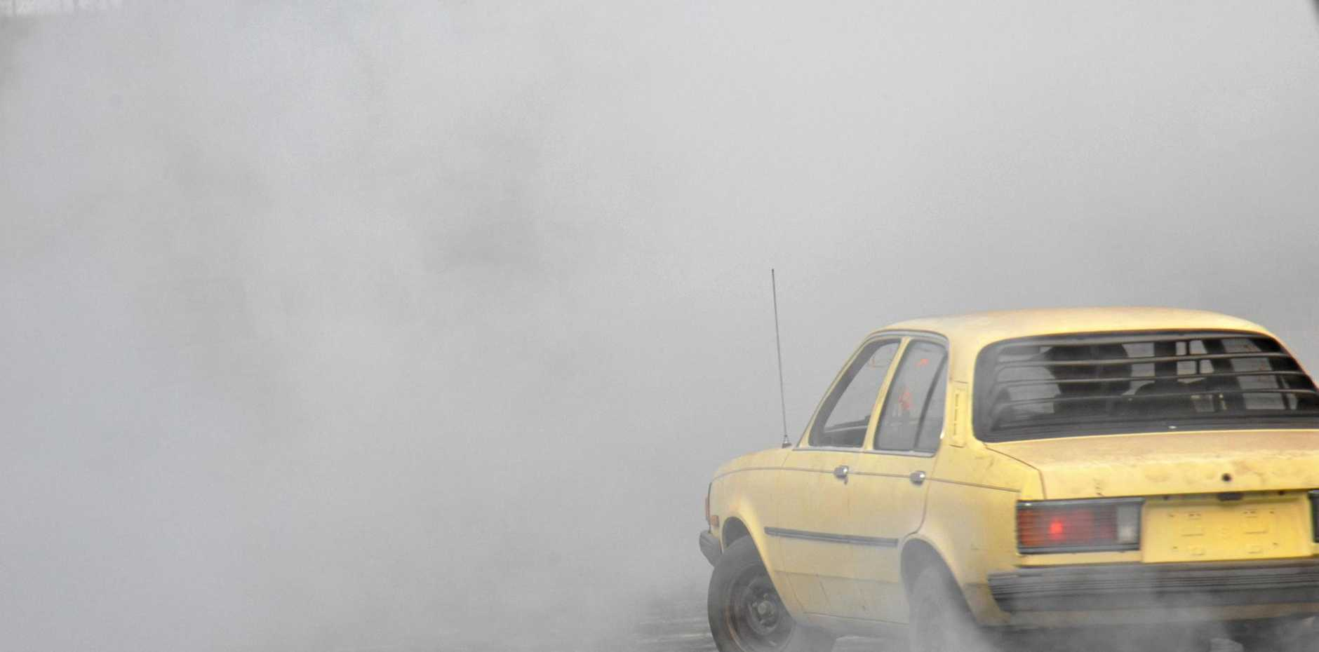 From inside a car during a burnout, all drivers can see is smoke.