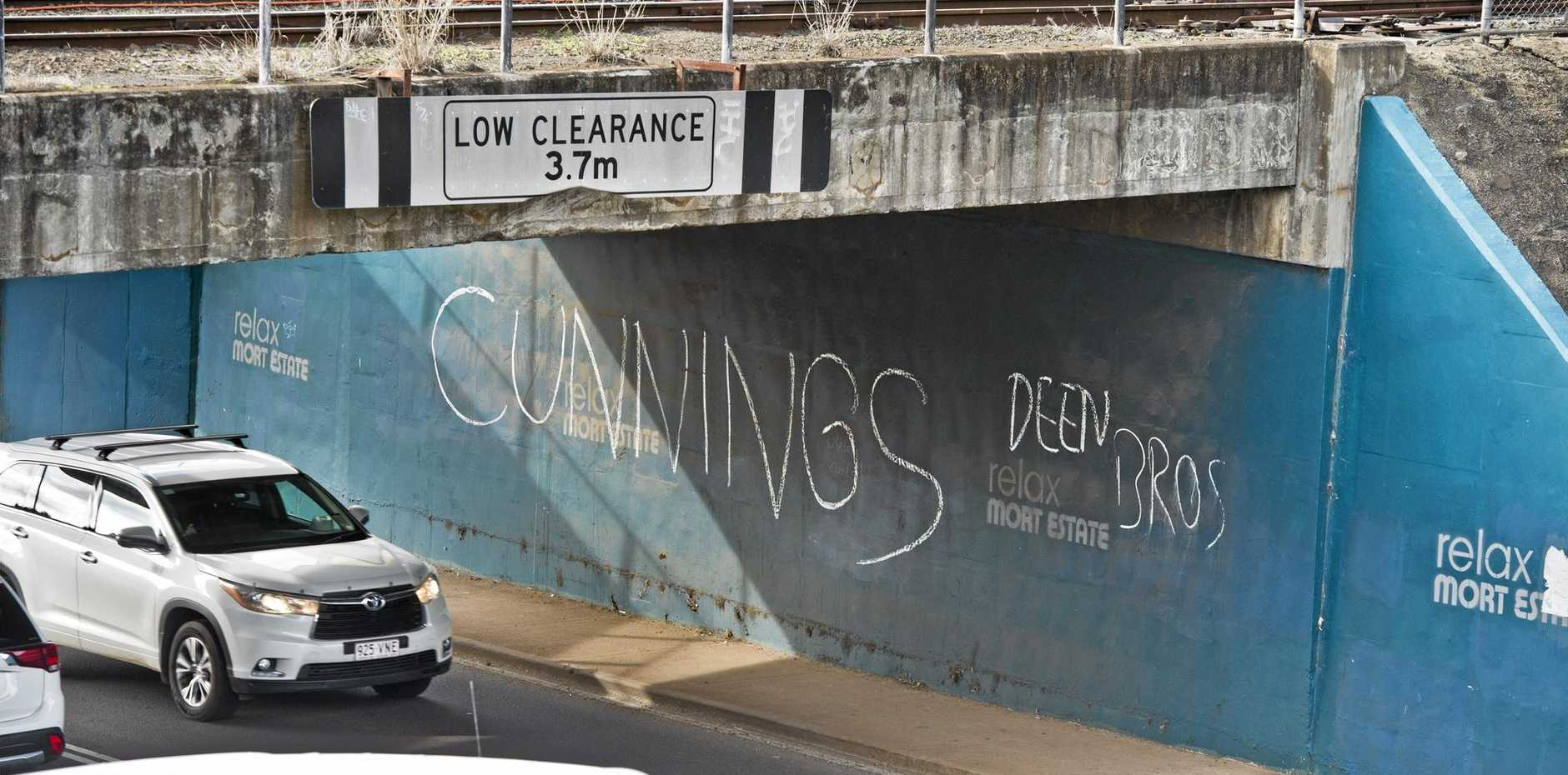 UPSET: Angry graffiti was painted on the underpass in Bridge St.