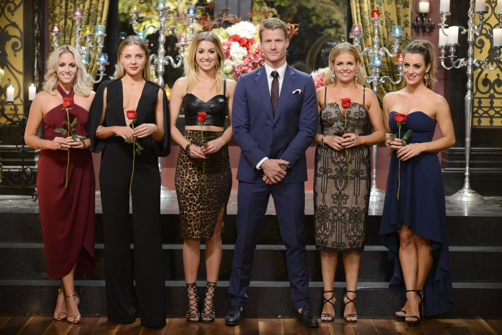 The Bachelor Richie Strahan with his final five bachelorettes, from left, Nikki, Olena, Alex, Faith and Rachael.