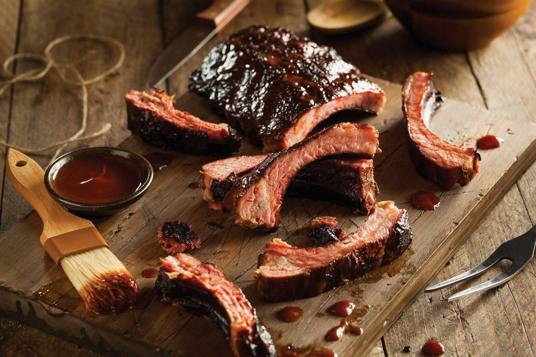 Slow smoked pork ribs.