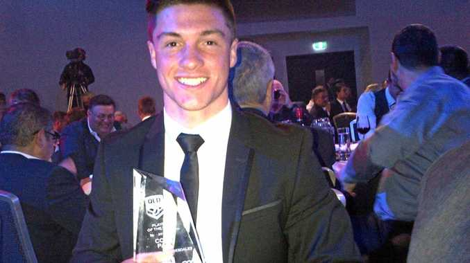 STAND-OUT SEASON: Toowoomba Clydesdale Cory Paix with his Cyril Connel Cupp Player of the Year award at the Queensland Rugby League awards night in Brisbane.