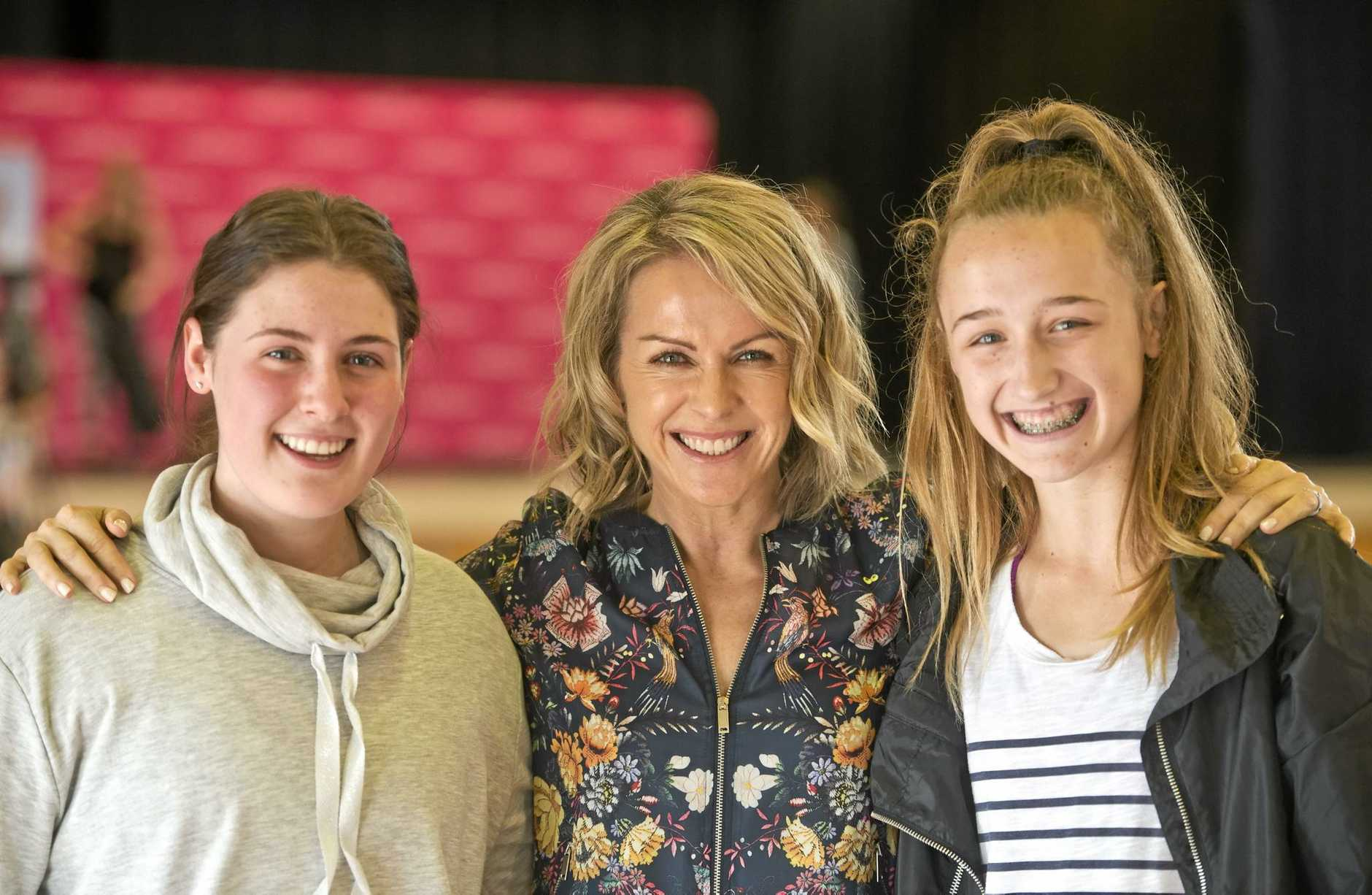 LIVING LIFE: Learning to embrace a healthy lifestyle are St Ursula's College students Molly Wagner (left) and Ella Cooper (right) with Lorna Jane Clarkson.