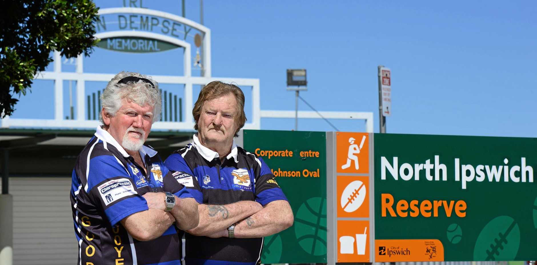 NOT HAPPY: Stalwart Goodna league supporters Keiron Butler and Lyle Reed are filthy the IRL grand final will be held on a Saturday night and not Sunday.