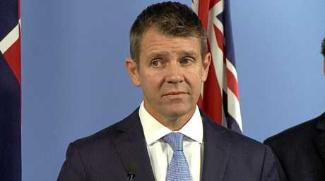 NSW Premier Mike Baird as he announces the end of the greyhound industry earlier this year. He would later reverse his position.