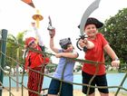 Logan Lindsay, Alexis Cotton and Liam Cotton get into the spirit of Talk Like a Pirate Day, which raises funds for regional charity Childhood Cancer Support.