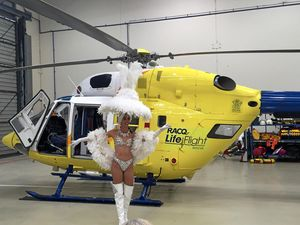Rescue helicopter celebrates Vegas-style