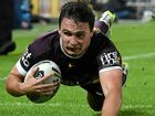 CHANGING CODES: Lachlan Maranta of the Brisbane Broncos scores a try in round 16.