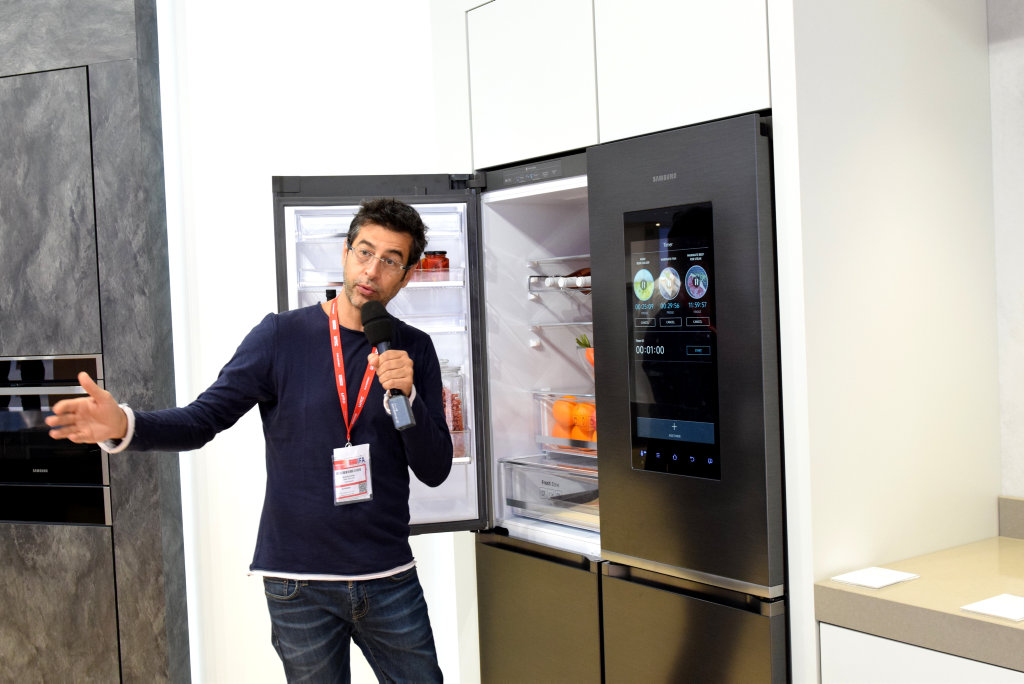 Samsung launches it's new tech advances at IFA in Berlin. Samsung has designed a fridge to be the hub of the home able to control almost everything in the home.