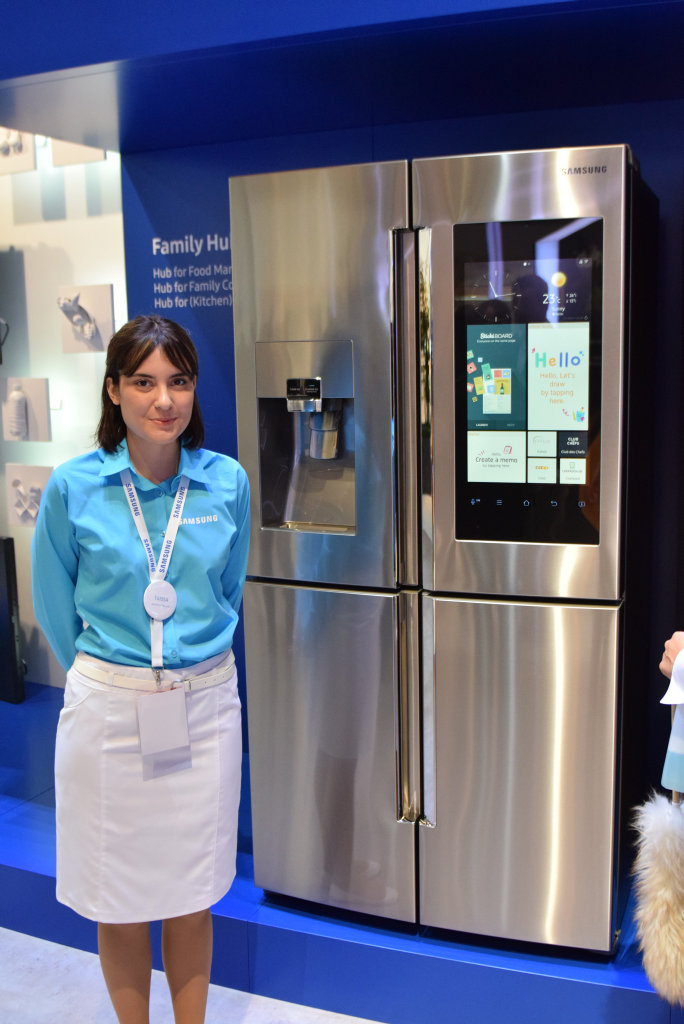 Samsung launches it's new tech advances at IFA in Berlin, the Family Hub is controlled by the home's fridge.