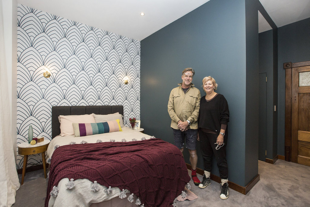 *WARNING EMBARGOED until 8.30pm Sunday September 4* Dan and Carleen in their renovated guest bedroom in a scene from The Block. Supplied by Channel 9