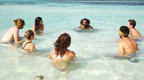 Australian Survivor contestant Barry Lea, pictured centre back, with his Vavau tribe mates.