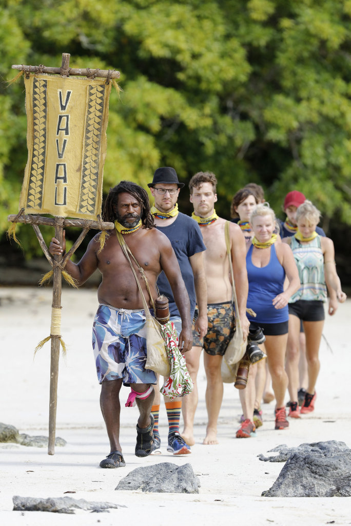 Australian Survivor contestant Barry Lea, left, pictured with his Vavau tribe members.