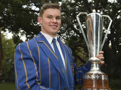 Toowoomba Grammar School First XV captain Clayton Mack with the O'Callaghan Cup, Friday, September 2, 2016.