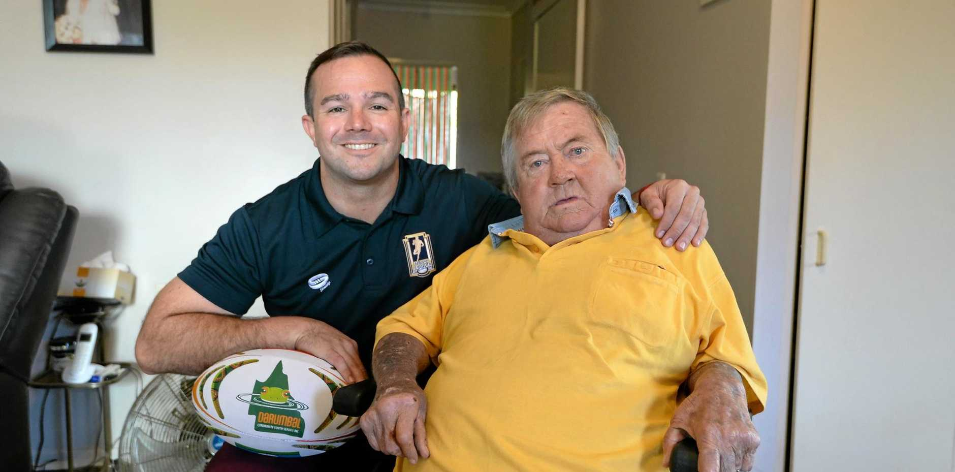 Former NRL player Jamie Simpson (left) enjoys his visits to John Burrows where they can chat about rugby league and life.