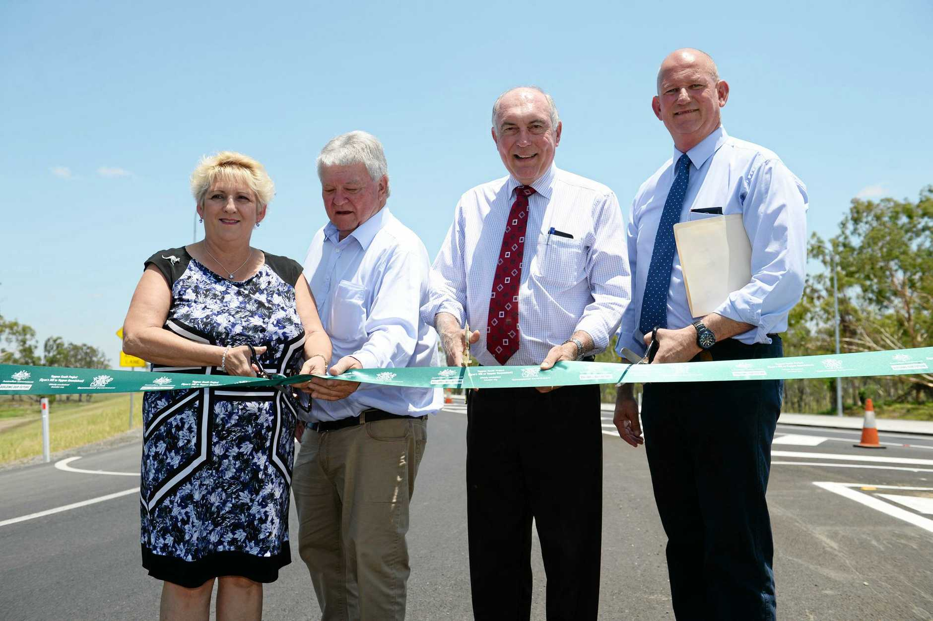 UPGRADES MADE: Michelle Landry, Ken O'Dowd, Warren Truss and Bill Byrne commissioning the Yeppen South Project, one of several delivered with the aim to improve the Bruce Hwy.