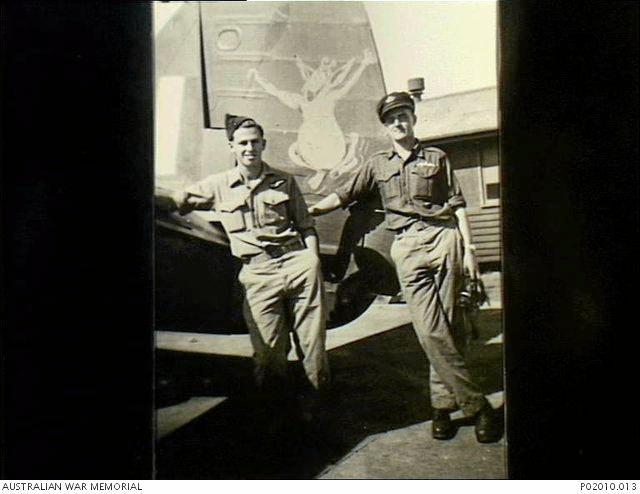 Flight Sergeant, Reg Garrat and Warrant Officer Stan Leviston in 1945.